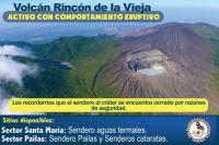 El acceso al cráter del Volcán Rincón de la Vieja permanece cerrado