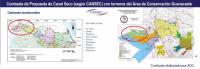 Contraste de Propuesta de Canal Seco (según CANSEC) con terrenos del ACG