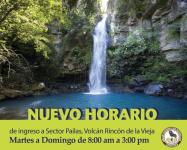 Nuevo horario de atención de visitantes en Sector Pailas, Volcán Rincón de la Vieja